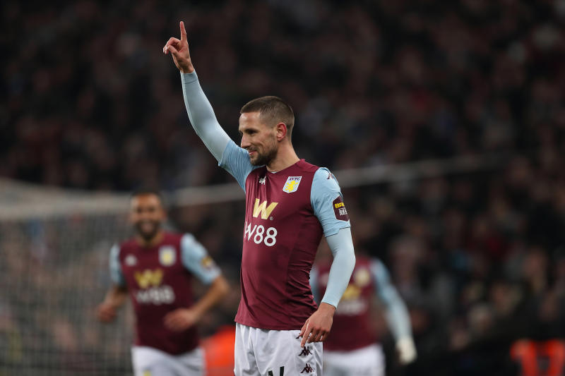 BIRMINGHAM, ENGLAND - DECEMBER 17: Conor Hourihane of Aston Villa celebrates after scoring a goal to make it 1-0 during the Carabao Cup Quarter Final match between Aston Villa and Liverpool FC at Villa Park on December 17, 2019 in Birmingham, England. (Photo by James Williamson - AMA/Getty Images)