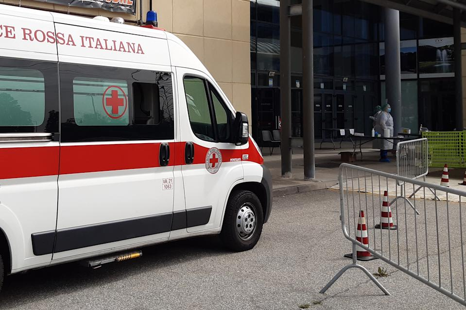 Busto Arsizio, Varese / Italy - 05 05 2020: The presence at MalpensaFiere, for the swab procedure. Check positivity or negativity at Covid-19. The garrison is managed by the ATS and Croce Rossa Italia
