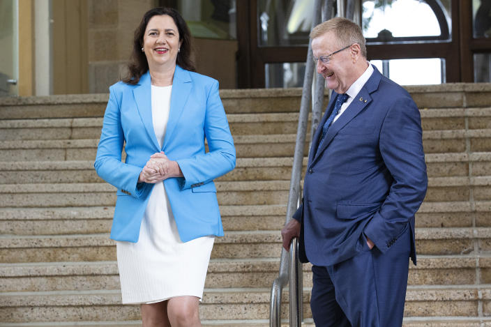 Annastacia Palaszczuk and President of the Australian Olympic Committee John Coates speak to the media during a press conference after the IOC announced targeted dialogue ahead of the 2032 Brisbane Olympic Games bid, at Queensland Parliament House on February 25, 2021 in Brisbane, Australia. (Photo by Jono Searle/Getty Images)