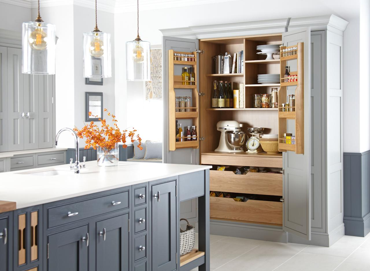 <p><strong>Kitchen larders or pantries can come in all shapes and sizes. T<strong>here are so many practical and stylish designs to choose from, w</strong>hether you've got a large kitchen and are looking for a walk-in larder, or a smaller pull-out unit to maximise storage options. </strong></p><p>The best tip? Make your pantry work for you. With the choice to create a design truly unique, ensure your larder helps to elevate your kitchen space by providing storage and practicality. Browse some of our favourite styles: from orange to grey and walk-in to curved, we've got you covered...</p>