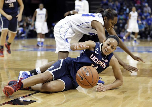 Connecticut guard Bria Hartley (14) tries to control the ball after colliding with Memphis guard Mooriah Rowser (24) in the first half of an NCAA college basketball game Saturday, Jan. 4, 2014, in Memphis, Tenn. (AP Photo/Mark Humphrey)