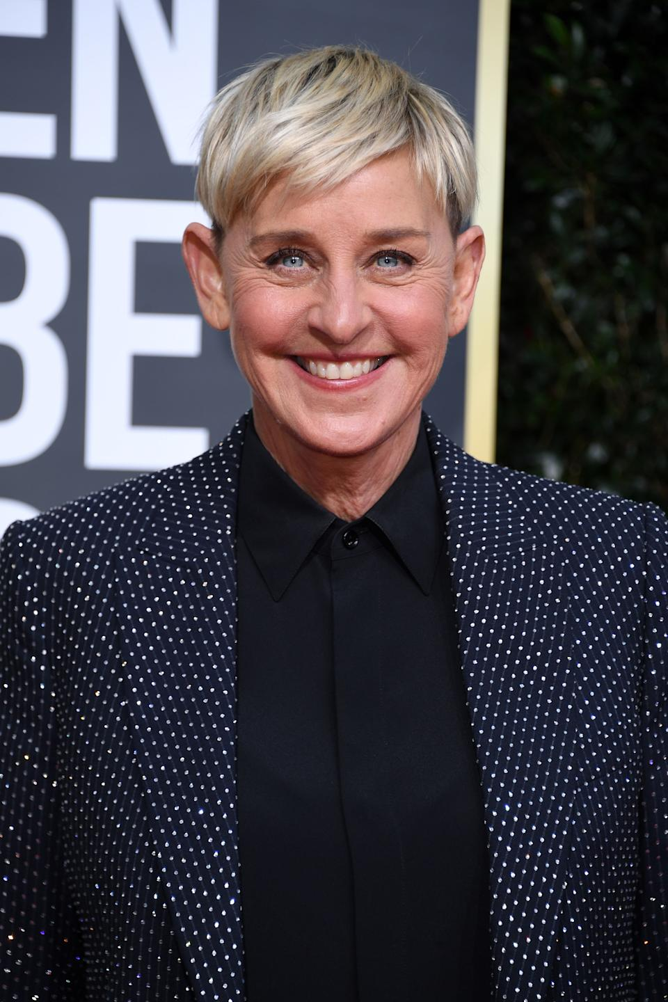 US comedian Ellen DeGeneres arrives for the 77th annual Golden Globe Awards on January 5, 2020, at The Beverly Hilton hotel in Beverly Hills, California. (Photo by VALERIE MACON / AFP) (Photo by VALERIE MACON/AFP via Getty Images)
