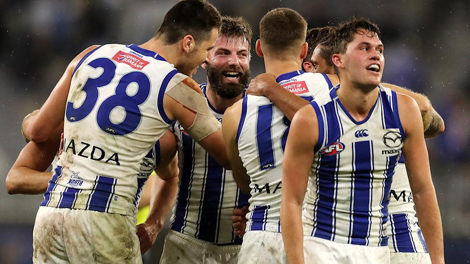 The Kangaroos are one of five AFL teams set to fly to Queensland from Victoria in a bid to escape a potential coronavirus outbreak in their home state. (Photo by Will Russell/AFL Photos via Getty Images)