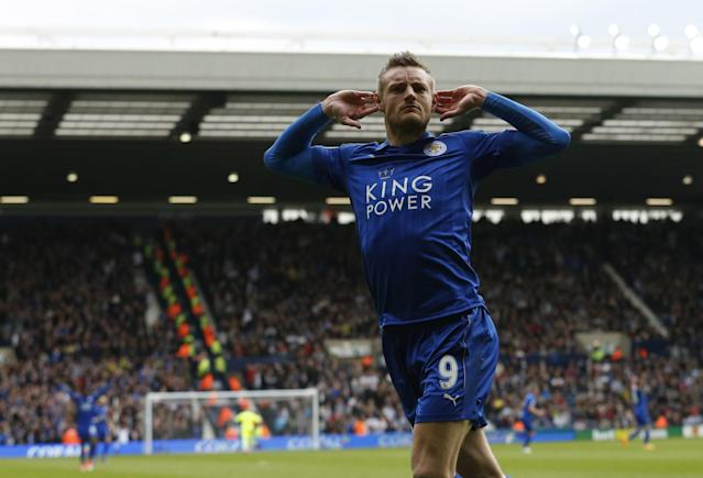 <p>Leicester City's Jamie Vardy celebrates scoring their first goal </p>