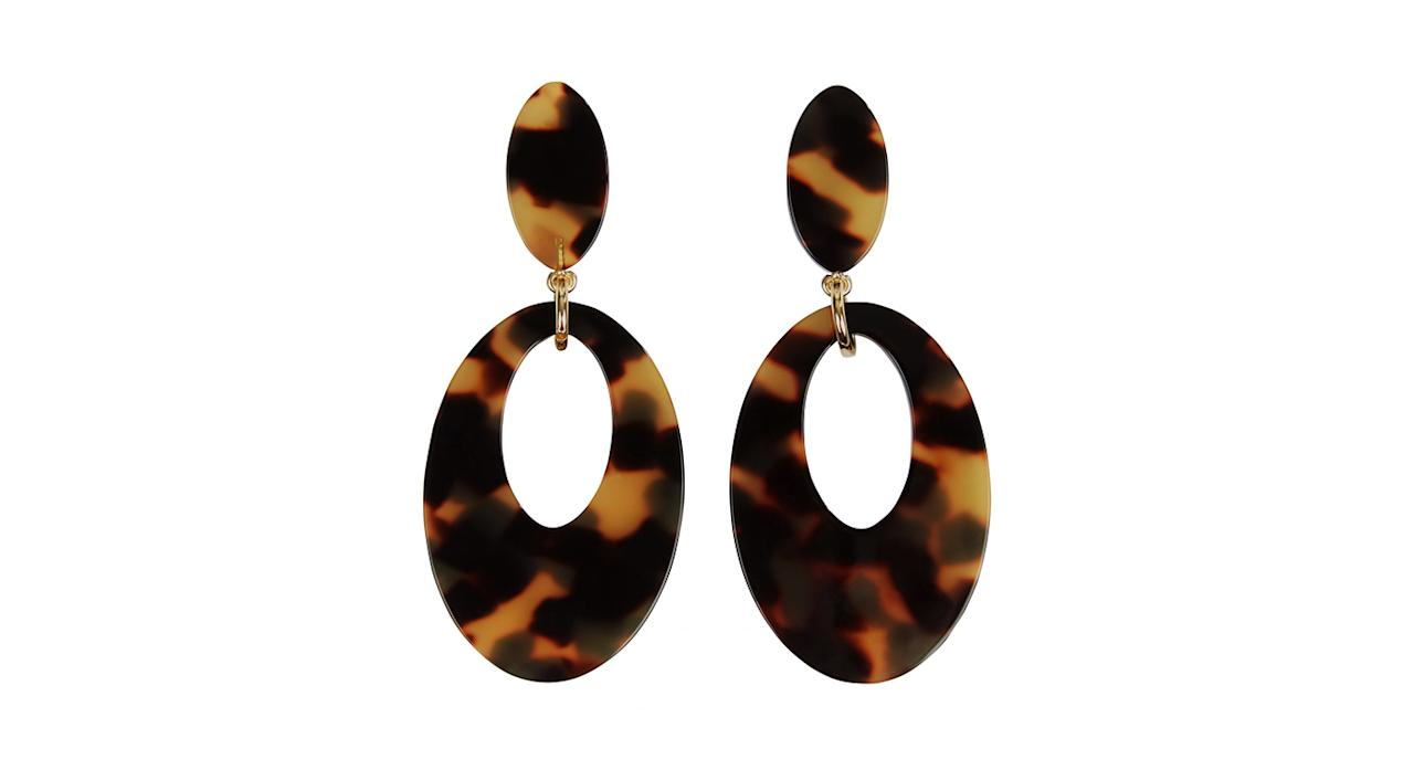 """<p>Look no further than Jaeger for some of the coolest accessories this season. We'll be teaming these with a super-sleeved shirt, asap. <em><a rel=""""nofollow"""" href=""""https://www.jaeger.co.uk/jennifer-tortoiseshell-oval-earrings-79382b"""">Jaeger</a>, £35</em> </p>"""