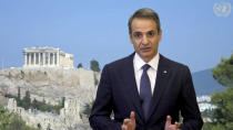 In this image made from UNTV video, Kyriakos Mitsotakis, Prime Minister of Greece, speaks in a pre-recorded message which was played during the 75th session of the United Nations General Assembly, Friday, Sept. 25, 2020, at U.N. headquarters in New York. (UNTV via AP)