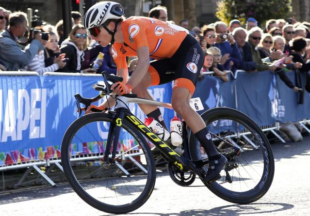 Annemiek van Vleuten, of The Netherlands, pedals on her way to to win the women elite race, at the road cycling World Championships in Harrogate, England, Saturday, Sept. 28, 2019. (AP Photo/Manu Fernandez)