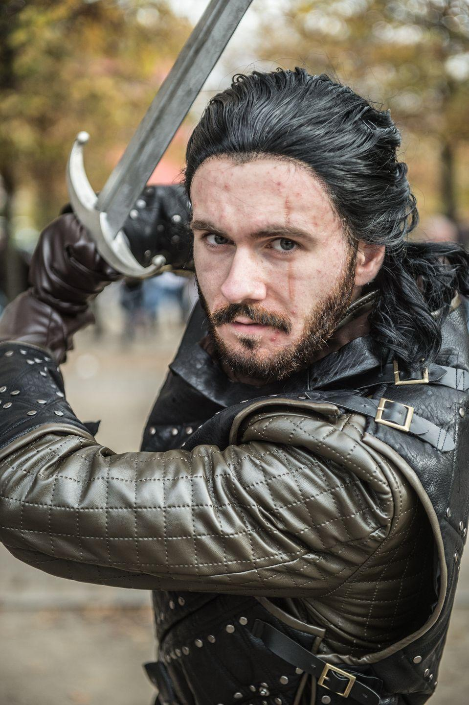 """<p>Jon Snow. The Bastard of Winterfell. Aegon Targaryen. A man of many names, always with his trusty sword, Longclaw. His many roles throughout <em>Game of Thrones</em> led to quite a few awesome outfits to emulate this Halloween.</p><p><a class=""""link rapid-noclick-resp"""" href=""""https://www.amazon.com/Thrones-Costume-Cosplay-Cloak-Adult/dp/B00QLUORE8?tag=syn-yahoo-20&ascsubtag=%5Bartid%7C10070.g.28762544%5Bsrc%7Cyahoo-us"""" rel=""""nofollow noopener"""" target=""""_blank"""" data-ylk=""""slk:SHOP CLOAK"""">SHOP CLOAK</a></p><p><a class=""""link rapid-noclick-resp"""" href=""""https://www.amazon.com/Game-Thrones-Replica-Sword-Standard/dp/B074MJ5Q7D/?tag=syn-yahoo-20&ascsubtag=%5Bartid%7C10070.g.28762544%5Bsrc%7Cyahoo-us"""" rel=""""nofollow noopener"""" target=""""_blank"""" data-ylk=""""slk:SHOP SWORD"""">SHOP SWORD</a></p>"""