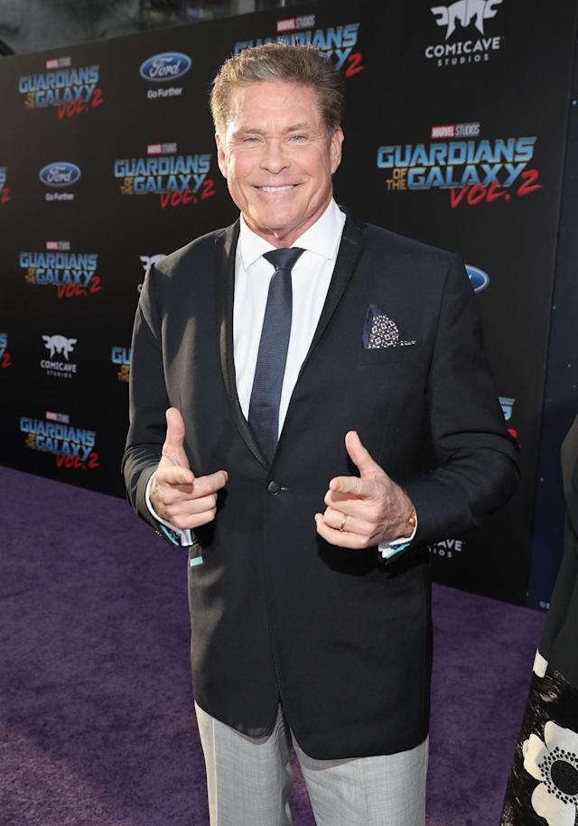"""David Hasselhoff at the """"Guardians of the Galaxy Vol. 2"""""""" world premiere in Hollywood. (Photo: Rich Polk/Getty Images for Disney)"""