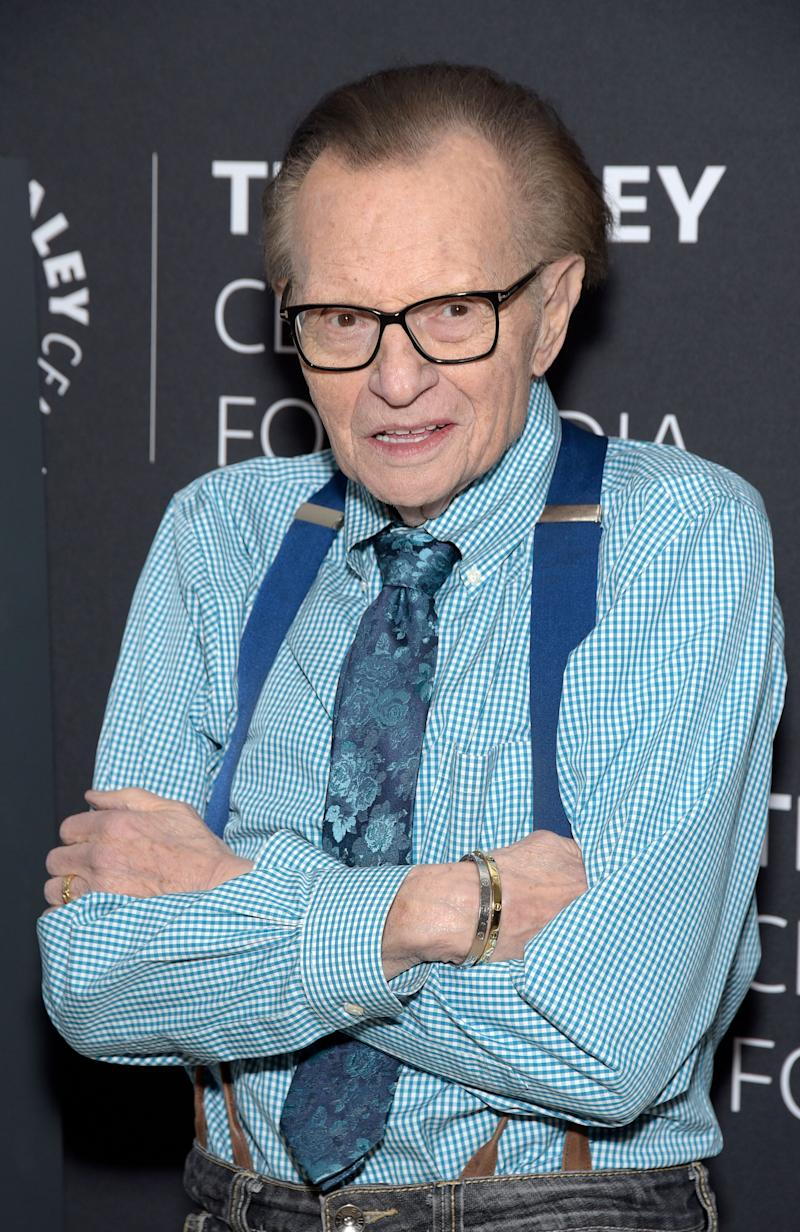 Larry King, pictured in February, suffered a heart attack last week. (Photo: Michael Tullberg/Getty Images)