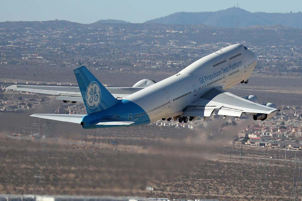 A General Electric (GE.N) Propulsion Test Platform plane takes off near Victorville, California, U.S. March 28, 2018. REUTERS/Lucy Nicholson