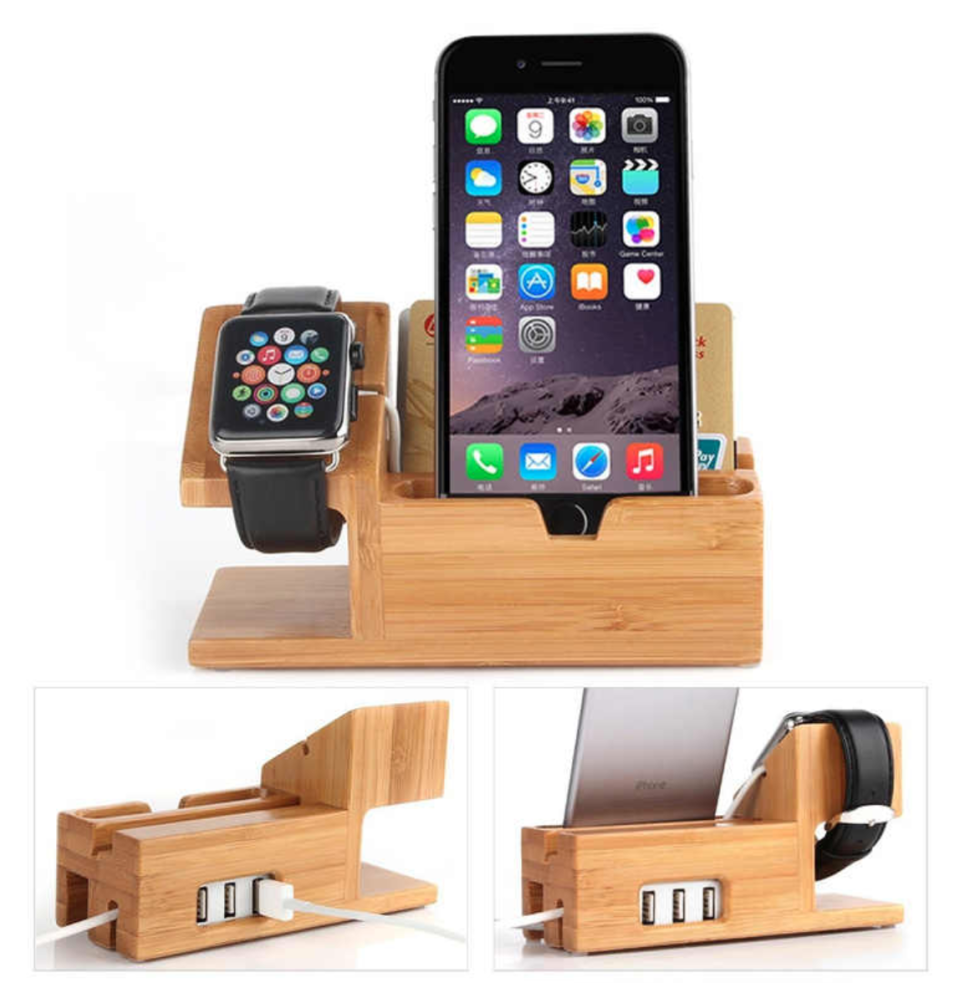 an iPhone and Apple Watch charging station