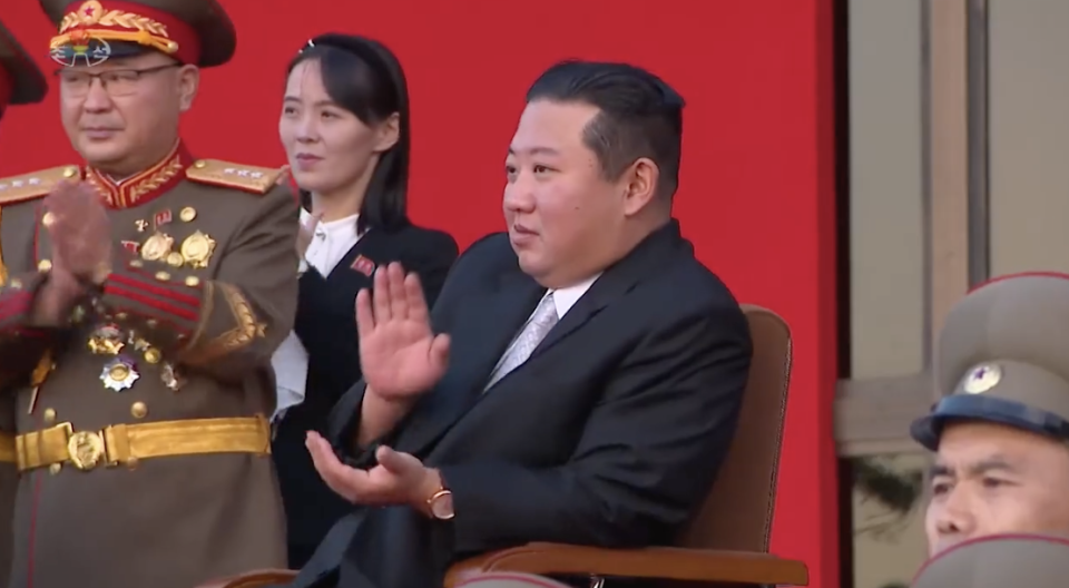 A smiling Kim Jong-un claps as the soldiers perform. Source: Twitter