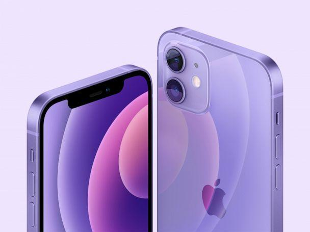 PHOTO: Apple introduced the new iPhone 12 and iPhone 12 mini in purple during the Apple event in Cupertino, Calif., April 20, 2021. (APPLE Inc/EPA via Shutterstock)