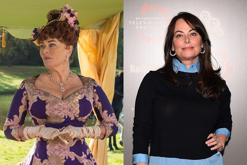 <p>Veteran actress Polly Walker (<em>Clash of the Titans</em>, <em>Emma</em>) portrays Portia Featherington, a domineering mother with a taste for extremely bright clothing.</p>