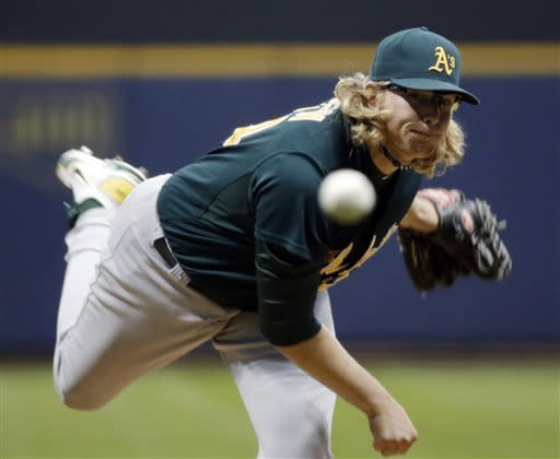 Oakland Athletics starting pitcher A.J. Griffin throws during the first inning of a baseball game against the Milwaukee Brewers on Tuesday, June 4, 2013, in Milwaukee. (AP Photo/Morry Gash)