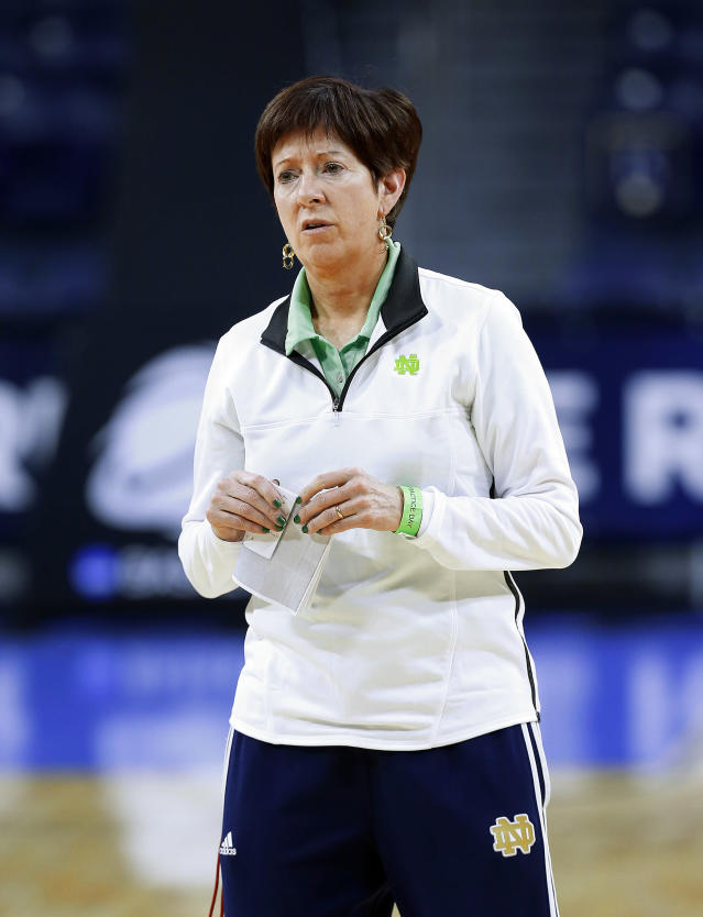 Notre Dame head coach Muffet McGraw watches during their NCAA women's college basketball tournament practice at the Purcell Pavilion in South Bend, Ind., Friday, March 28, 2014. Notre Dame plays Oklahoma State Saturday. (AP Photo/Paul Sancya)