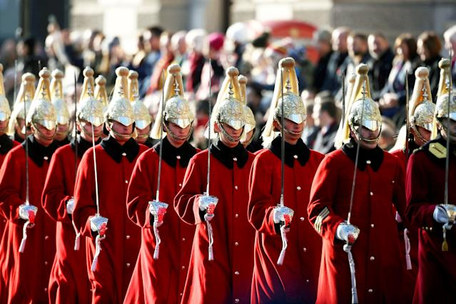 Hundreds of armed forces personnel were present for the service (Picture: SWNS)
