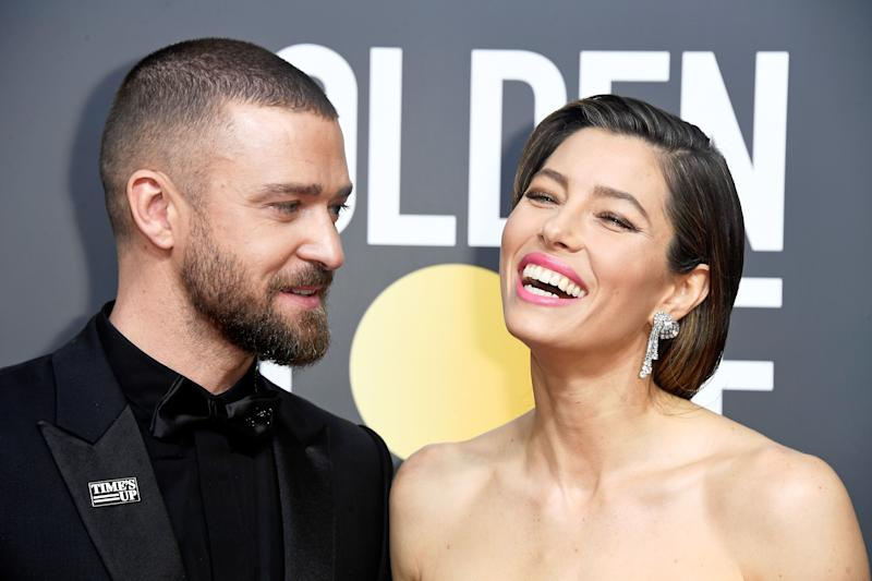 Justin Timberlake and Jessica Biel at the Golden Globes