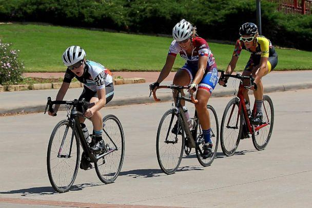 PHOTO: Hannah Jordan, front, races in a cycling competition. (Richard Cleaver)