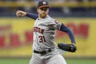 Houston Astros starting pitcher Collin McHugh throws during the first inning of a baseball game against the Tampa Bay Rays Saturday, March 30, 2019, in St. Petersburg, Fla. (AP Photo/Mike Carlson)