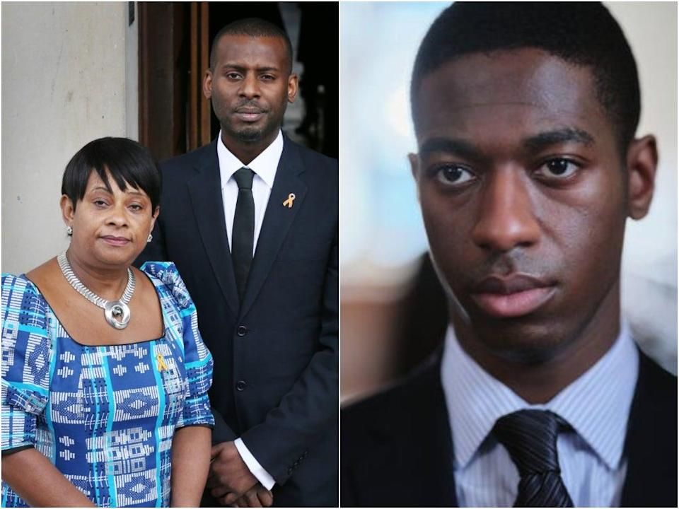 Doreen Lawrence with Stuart Lawrence, who is played by Jorden Myrie in 'Stephen' (Getty Images/Hat Trick/ITV)