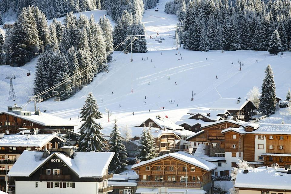 <p>Skiers enjoying the slopes at Les Gets, a resort between Lake Geneva and Mont Blanc in France.</p>
