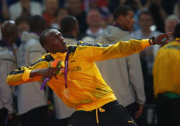 LONDON, ENGLAND - AUGUST 11:  Usain Bolt of Jamaica poses on the podium during the medal ceremony for the Men's 4 x 100m Relay on Day 15 of the London 2012 Olympic Games at Olympic Stadium on August 11, 2012 in London, England.  (Photo by Alexander Hassenstein/Getty Images)