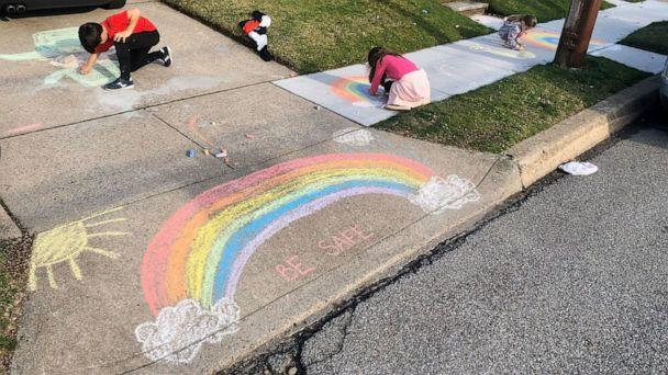 PHOTO: Michelle Faisca's children draw rainbows to spread joy and encouragement outside their home of Mineola, New York, amid the coronavirus pandemic. (Michelle Faisca)