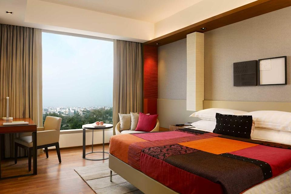 A guest room at the Hyatt Regency Amritsar, voted one of the best hotels in the world
