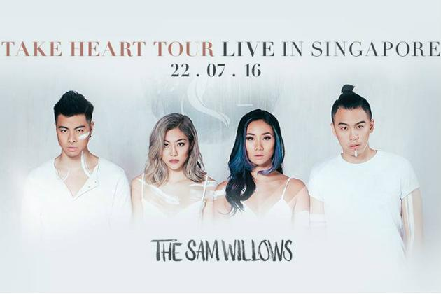 """<p><b><a rel=""""nofollow"""" href=""""http://www.sistic.com.sg/events/willows0716"""">The Sam Willows Take Heart Tour Singapore 2016</a></b><br /></p><p>The homegrown pop quartet kicks off their Take Heart tour with their biggest show to date. Expect to hear titular track 'Take Heart' and more hits from their debut album, as well as unreleased songs by the local crooners and special guest performances.</p><p>When: 22 July, 7pm</p><p>Where: Hard Rock Hotel, 8 Sentosa Gateway, Sentosa</p><p>Prices: $48 to $58</p>"""