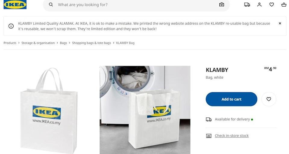 A disclaimer informing customers of the printing typo is seen on Ikea Malaysia's website. — Screengrab from Ikea Malaysia