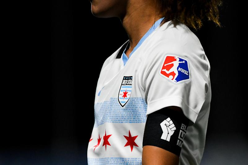 Sarah Gorden #11 of the Chicago Red Stars wears a Black Lives Matter armband during a game against the Washington Spirit in the first round of the NWSL Challenge Cup at Zions Bank Stadium on June 27, 2020 in Herriman, Utah. (Photo by Alex Goodlett/Getty Images)