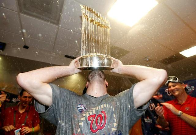 Washington pitcher Max Scherzer, a finalist for his fourth career Cy Young Award as best pitcher, helped the Nationals capture the World Series trophy for the first time in club history (AFP Photo/ELSA)