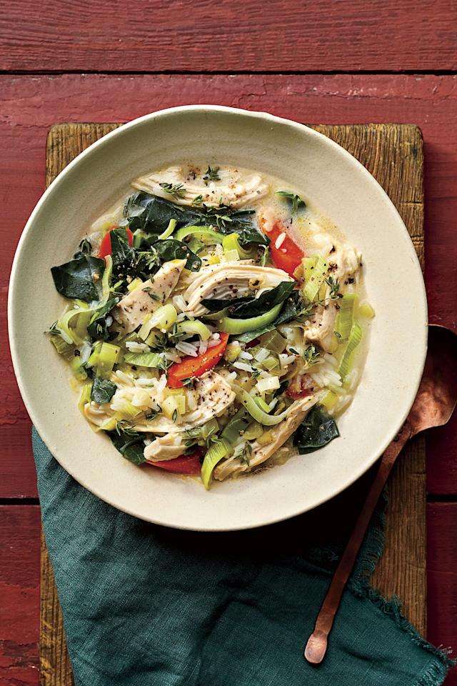 """<p><b>Recipe: </b><a href=""""https://www.southernliving.com/recipes/creamy-chicken-rice-soup""""><strong>Creamy Chicken-and-Rice Soup with Collard Greens</strong></a></p> <p>This soup is the whole package: easy, tasty, and healthy. (That pinch of heavy cream is totally justified.) </p>"""
