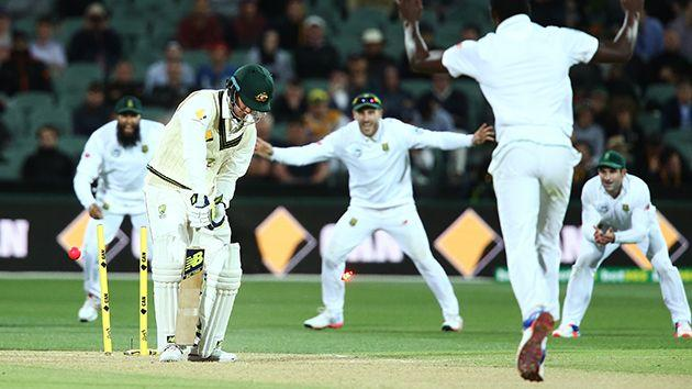 Maddinson has his middle stump knocked over on debut. Image: Getty
