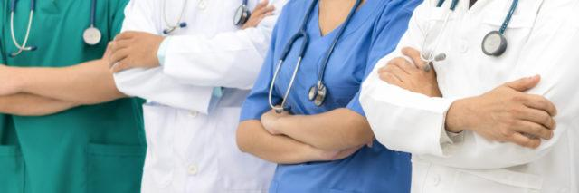Medical people - doctors, nurse and surgeon in Healthcare institute or doctorate education.