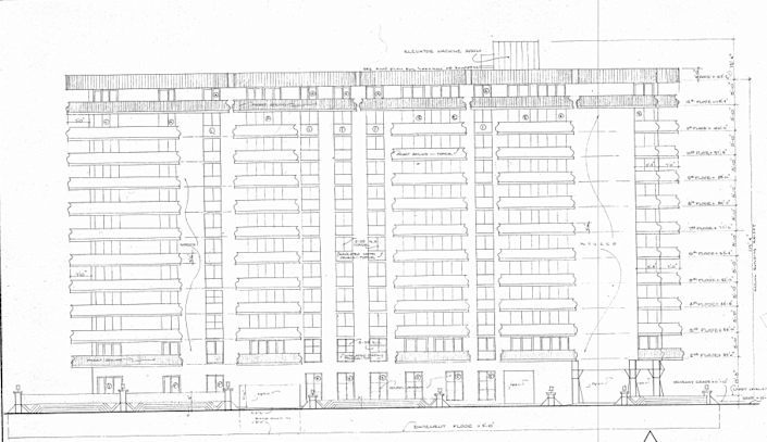 Exterior plan of 8777 Collins Avenue, Surfside, Florida. The Champlain Towers South Condominium was designed in 1979, built in 1981 and collapsed in 2021.