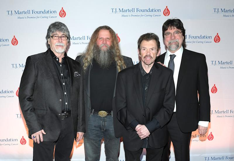 Randy Owen of Alabama, Jamey Johnson and Jeff Cook and Teddy Gentry of Alabama attend the 11th Annual T.J. Martell Foundation Nashville Honors Gala at the Omni Hotel in Nashville.