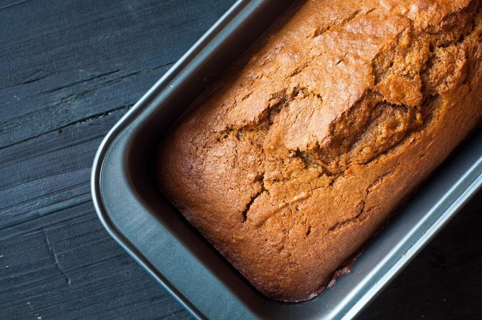 """All the classic fall spices (cinnamon, nutmeg, allspice, and cloves) get together for this tender and delicious quick bread. <a href=""""https://www.epicurious.com/recipes/food/views/pumpkin-bread-367512?mbid=synd_yahoo_rss"""" rel=""""nofollow noopener"""" target=""""_blank"""" data-ylk=""""slk:See recipe."""" class=""""link rapid-noclick-resp"""">See recipe.</a>"""