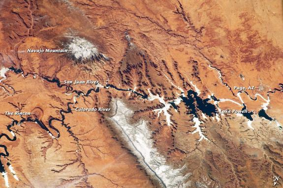 The Colorado River from space on March 12, 2013.