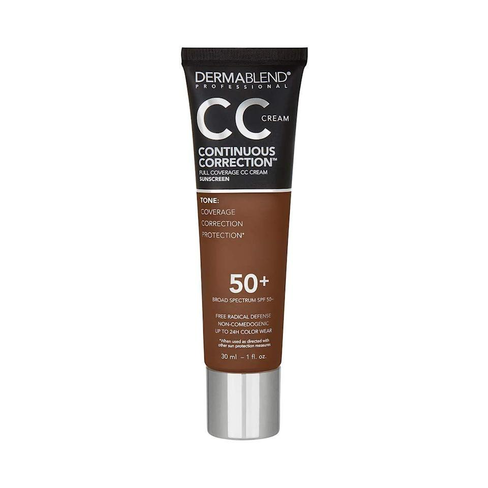 """<p><strong>Dermablend</strong></p><p>amazon.com</p><p><strong>$39.00</strong></p><p><a href=""""https://www.amazon.com/dp/B08WJ2GPJ7?tag=syn-yahoo-20&ascsubtag=%5Bartid%7C10055.g.36098250%5Bsrc%7Cyahoo-us"""" rel=""""nofollow noopener"""" target=""""_blank"""" data-ylk=""""slk:Shop Now"""" class=""""link rapid-noclick-resp"""">Shop Now</a></p><p>Dermablend is best known (and loved) for <a href=""""https://www.goodhousekeeping.com/beauty-products/g2458/best-concealers-reviews/"""" rel=""""nofollow noopener"""" target=""""_blank"""" data-ylk=""""slk:concealing blemishes"""" class=""""link rapid-noclick-resp"""">concealing blemishes</a>, skin imperfections, and even tattoos. That's why this sunscreen is <strong>best for those looking for an all-over even color plus the benefits of sun protection</strong>. <a href=""""https://drloretta.com/pages/dr-loretta-team"""" rel=""""nofollow noopener"""" target=""""_blank"""" data-ylk=""""slk:Loretta Ciraldo, M.D."""" class=""""link rapid-noclick-resp"""">Loretta Ciraldo, M.D.</a>, dermatologist in Aventura, Florida, recommends this formula for being a two-in-one makeup and skincare hybrid. """"It comes in 16 different shades so you can color match it to your skin tone,"""" she says. """"I recommend this to many women of all skin tones since it helps to improve the appearance of sun damage by coverage as it protects.""""</p>"""