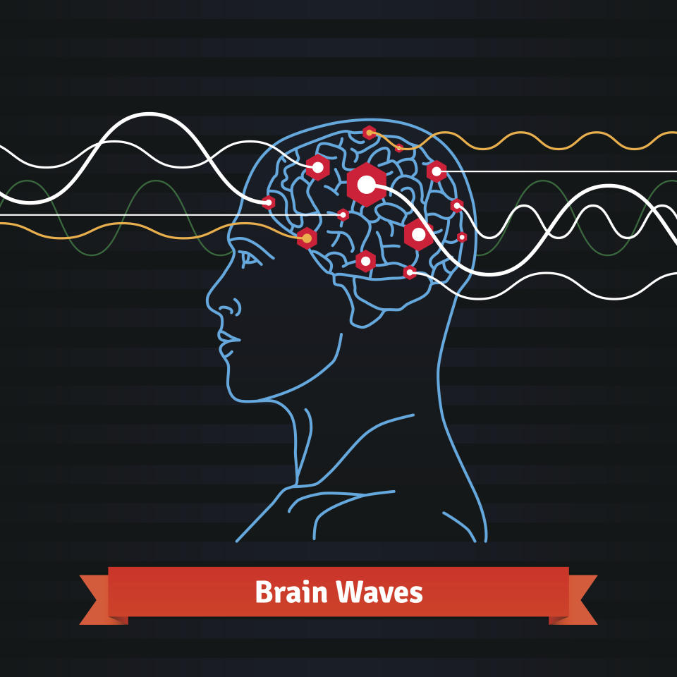 Brain waves. Electrodes connected to a man head. Mind power concept. Flat vector thin line icon.