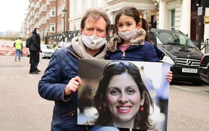 Mrs Zaghari-Ratcliffe's husband, Richard, and their daughter Gabriella have fought hard for her return - Ian West/PA Wire