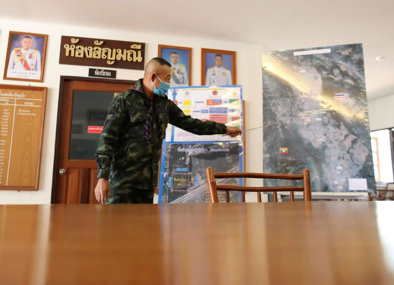 Colonel Prasan Henprasert, commander of 4th Army Regiment Taskforce Command talks during an interview with Reuters journalist in Mae Sot