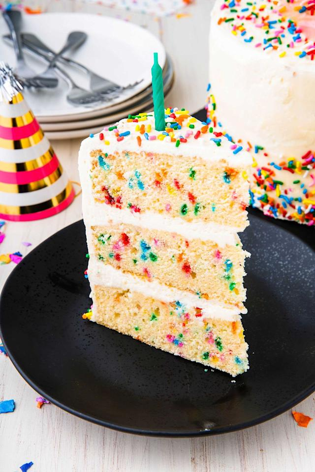 "<p>Funfetti brings the party. </p><p>Get the recipe from <a href=""https://www.delish.com/cooking/recipe-ideas/a23120595/funfetti-cake-birthday-cake-recipe/"" target=""_blank"">Delish</a>. </p>"