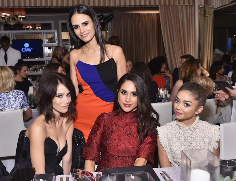 WEST HOLLYWOOD, CA - JANUARY 20: (L-R) Actors Abigail Spencer, Jordana Brewster, Meghan Markle and Sarah Hyland attend ELLE's 6th Annual Women in Television Dinner Presented by Hearts on Fire Diamonds and Olay at Sunset Tower on January 20, 2016 in West Hollywood, California. (Photo by Stefanie Keenan/Getty Images for ELLE)