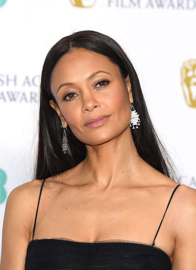Thandie Newton poses in the press room during the EE British Academy Film Awards on Feb. 10, 2019 in London.