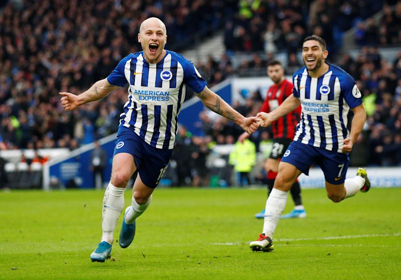 "Soccer Football - Premier League - Brighton & Hove Albion v AFC Bournemouth - The American Express Community Stadium, Brighton, Britain - December 28, 2019 Brighton & Hove Albion's Aaron Mooy celebrates scoring their second goal REUTERS/Eddie Keogh EDITORIAL USE ONLY. No use with unauthorized audio, video, data, fixture lists, club/league logos or ""live"" services. Online in-match use limited to 75 images, no video emulation. No use in betting, games or single club/league/player publications. Please contact your account representative for further details."