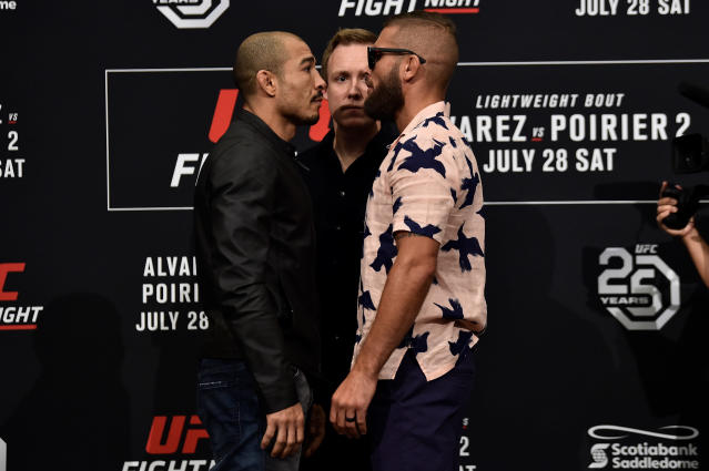 In facing Jose Aldo, one of the greatest fighters in UFC history, Jeremy Stephens, right, is taking on a major challenge. (Getty)